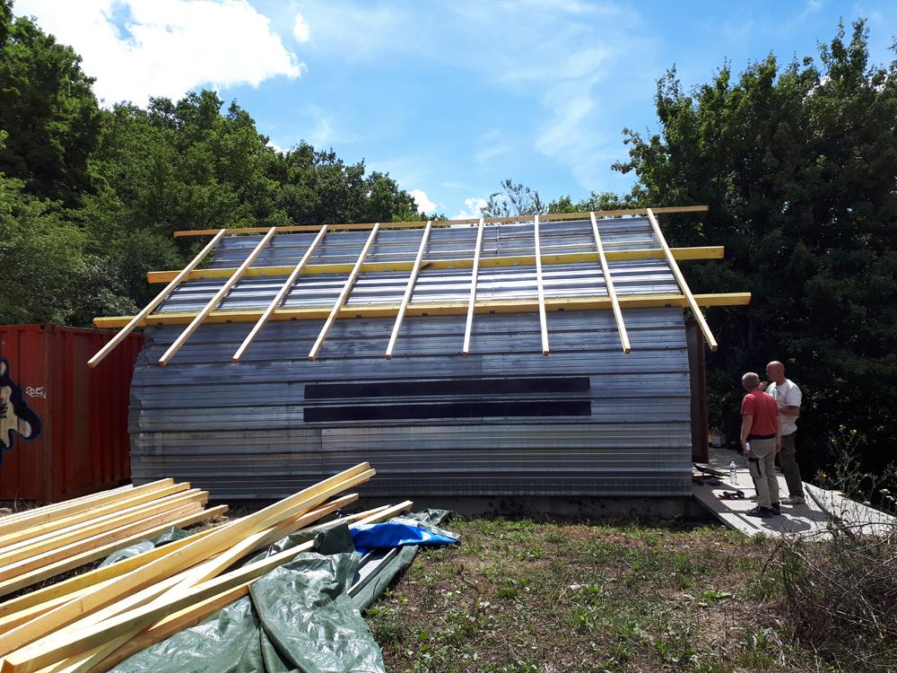 charpente Pavillon S fini  + 1er tests bardage bois brulé